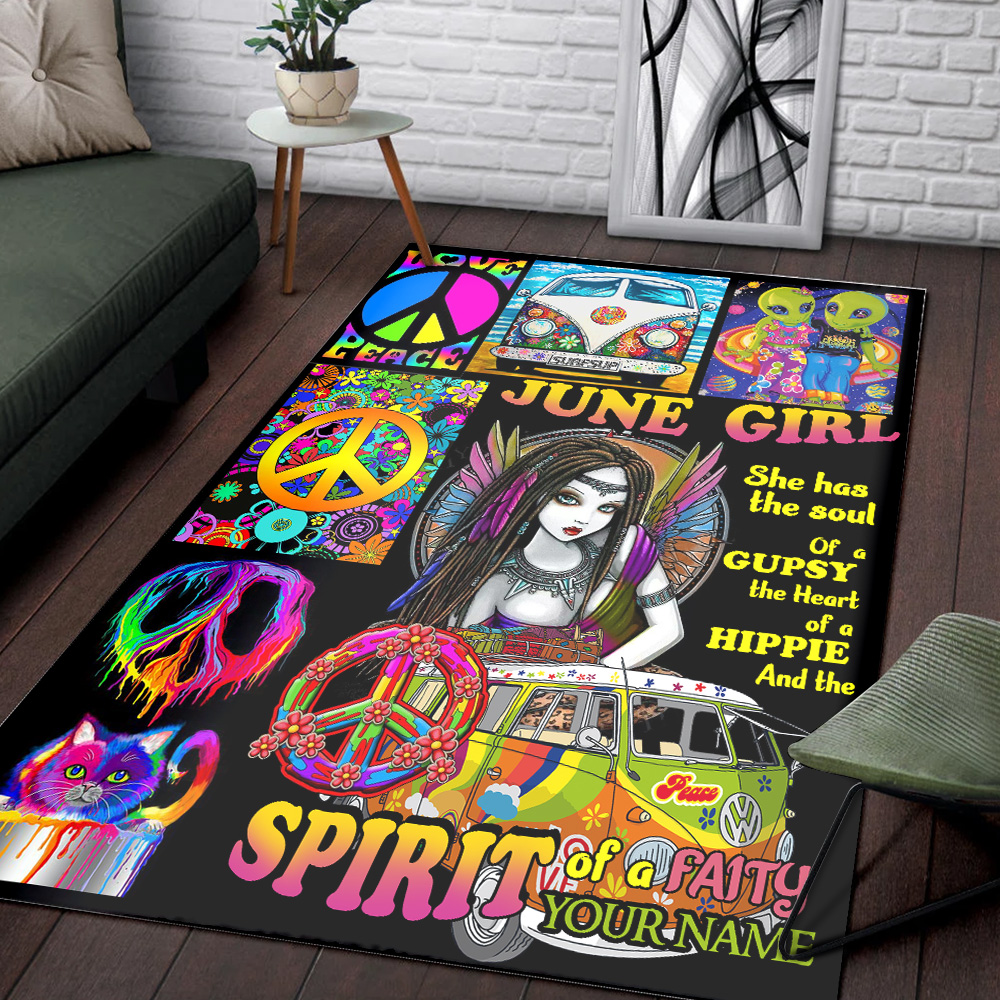 Personalized June Girl She Has The Soul , The Hear And The Spirit Of A Fairy Pattern 2 Vintage Area Rug Anti-Skid Floor Carpet For Living Room Dinning Room Bedroom Office