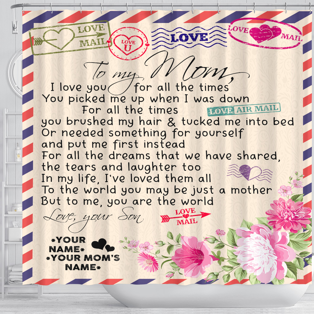 Personalized Lovely Shower Curtain To My Mom You Are The World Pattern 1 Set 12 Hooks Decorative Bath Modern Bathroom Accessories Machine Washable