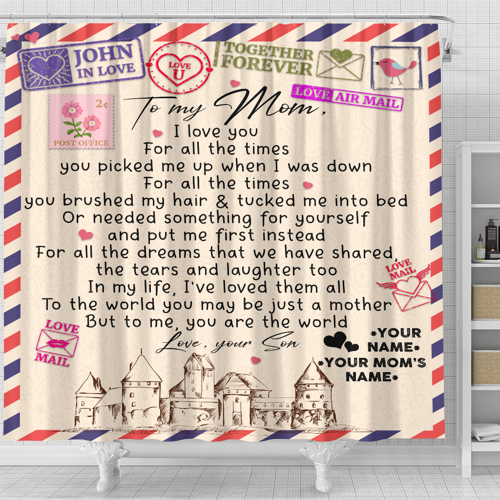 Personalized Lovely Shower Curtain To My Mom You Are The World Pattern 2 Set 12 Hooks Decorative Bath Modern Bathroom Accessories Machine Washable