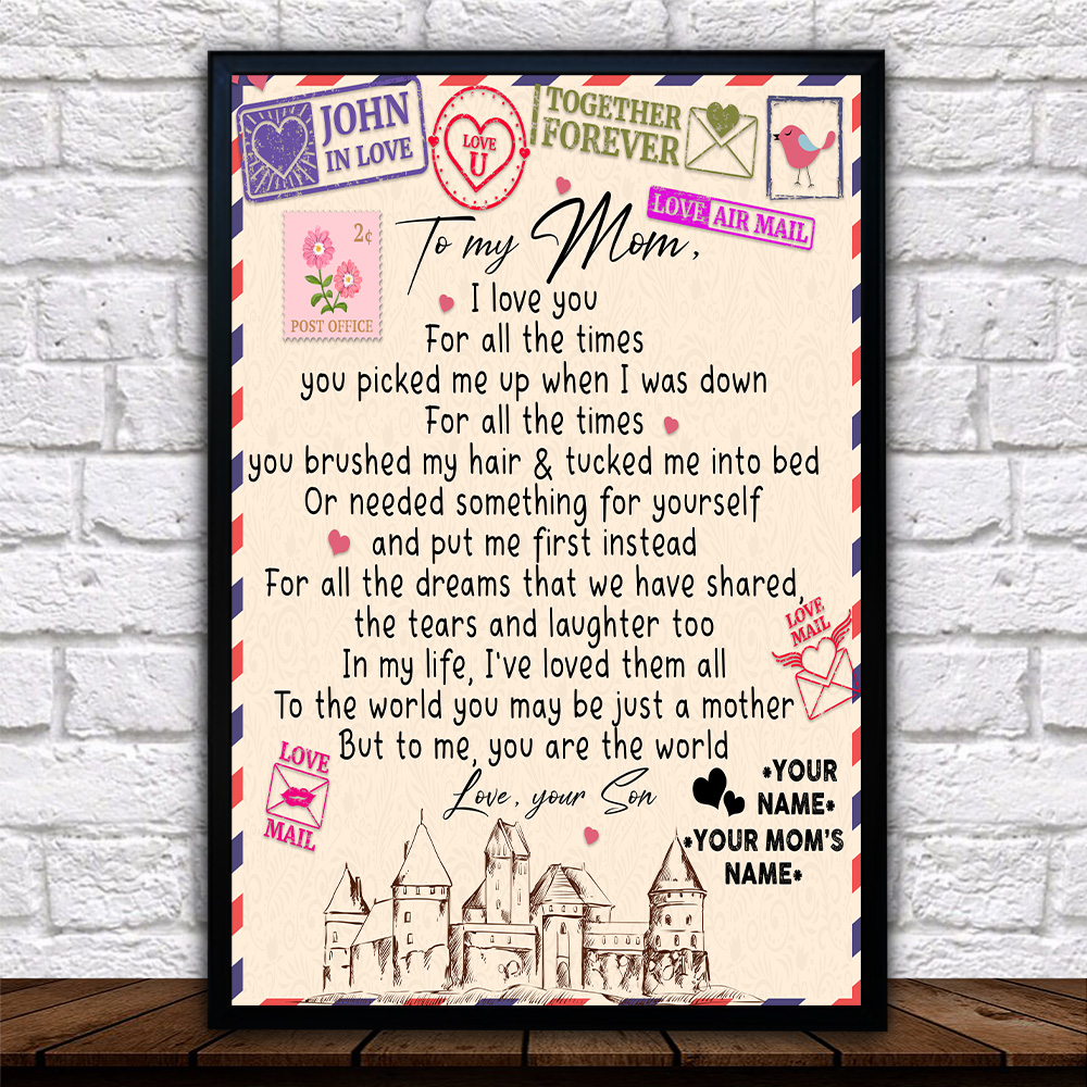Personalized Lovely Wall Art Poster To My Mom You Are The World Pattern 2 Prints Decoracion Wall Art Picture Living Room Wall