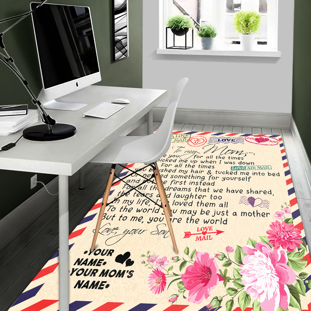 Personalized Lovely To My Mom You Are The World Pattern 1 Vintage Area Rug Anti-Skid Floor Carpet For Living Room Dinning Room Bedroom Office