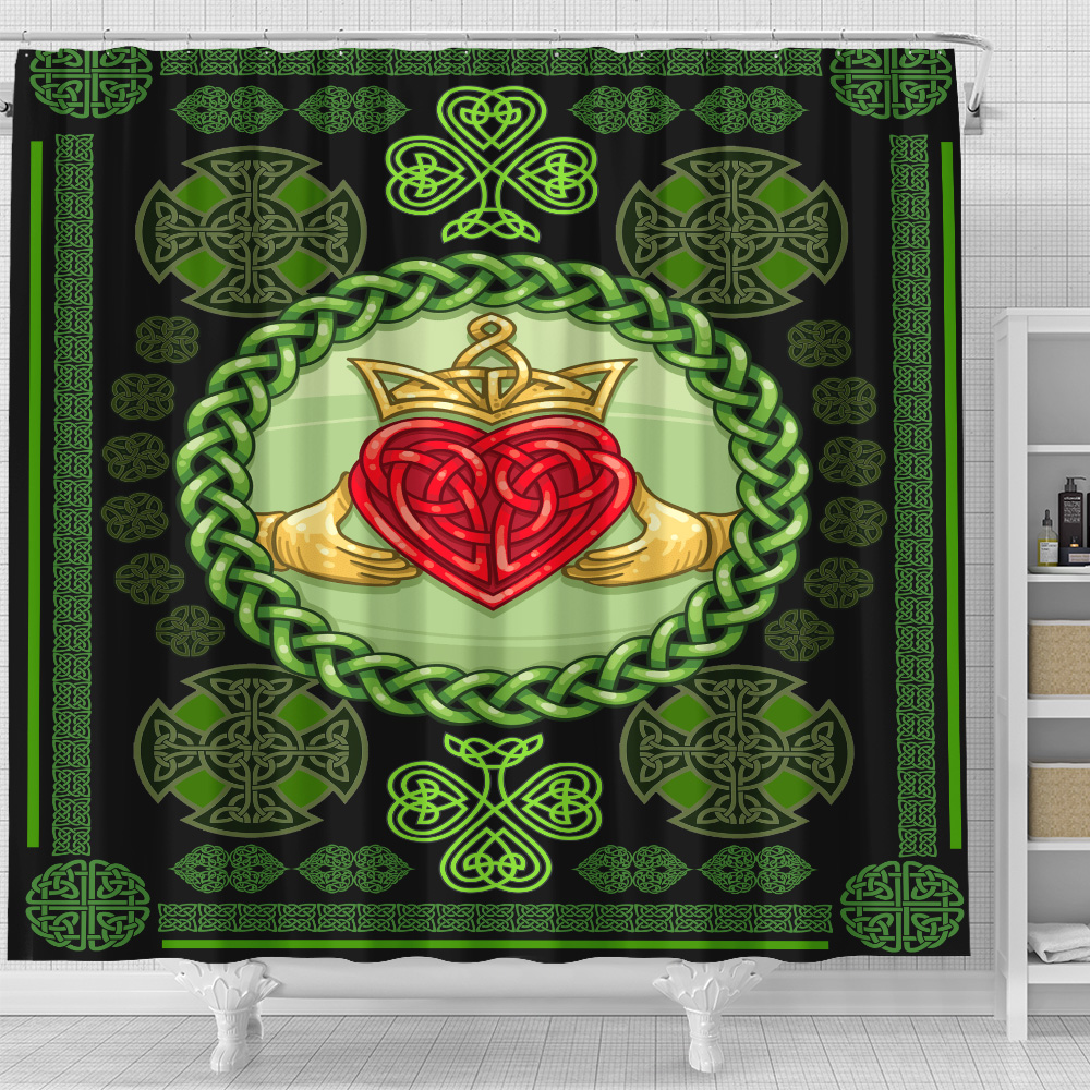 Personalized Lovely Shower Curtain St Patrick's Day Heart Of Irish Pattern 1 Set 12 Hooks Decorative Bath Modern Bathroom Accessories Machine Washable