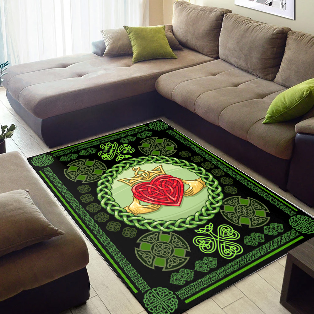 Personalized Lovely St Patrick's Day Heart Of Irish Pattern 1 Vintage Area Rug Anti-Skid Floor Carpet For Living Room Dinning Room Bedroom Office