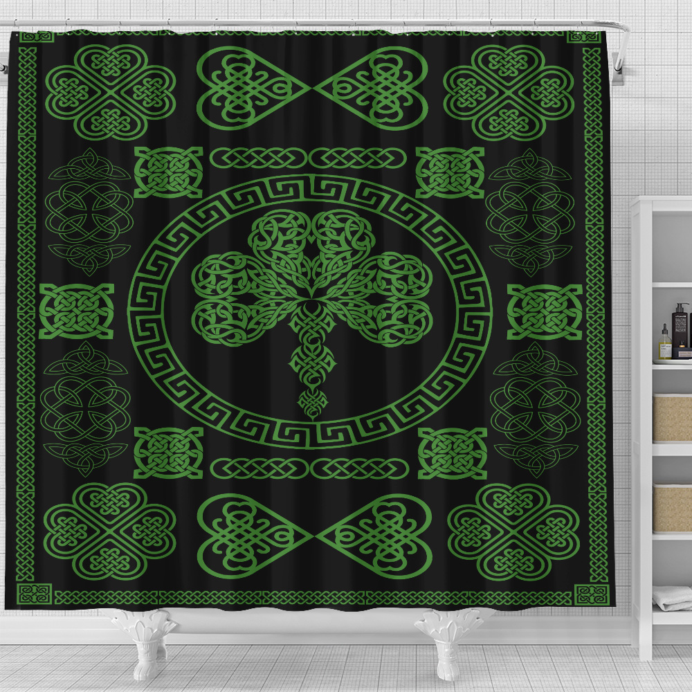 Personalized Lovely Shower Curtain St Patrick's Day Heart Of Irish Pattern 2 Set 12 Hooks Decorative Bath Modern Bathroom Accessories Machine Washable