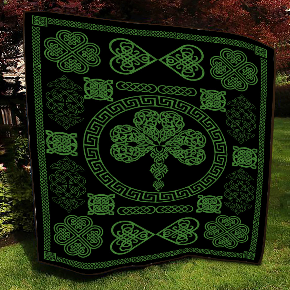 Personalized Lovely Quilt Throw Blanket St Patrick's Day Heart Of Irish Pattern 2 Lightweight Super Soft Cozy For Decorative Couch Sofa Bed