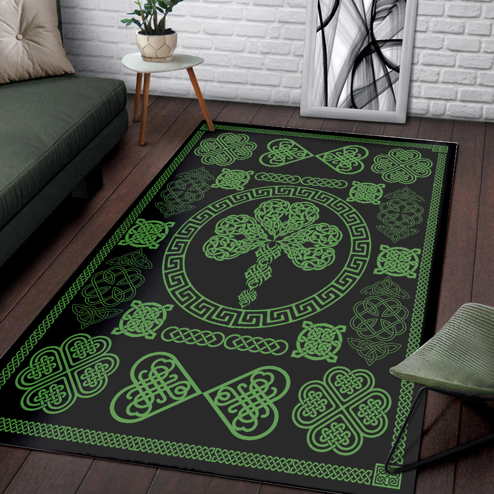 Personalized Lovely St Patrick's Day Heart Of Irish Pattern 2 Vintage Area Rug Anti-Skid Floor Carpet For Living Room Dinning Room Bedroom Office
