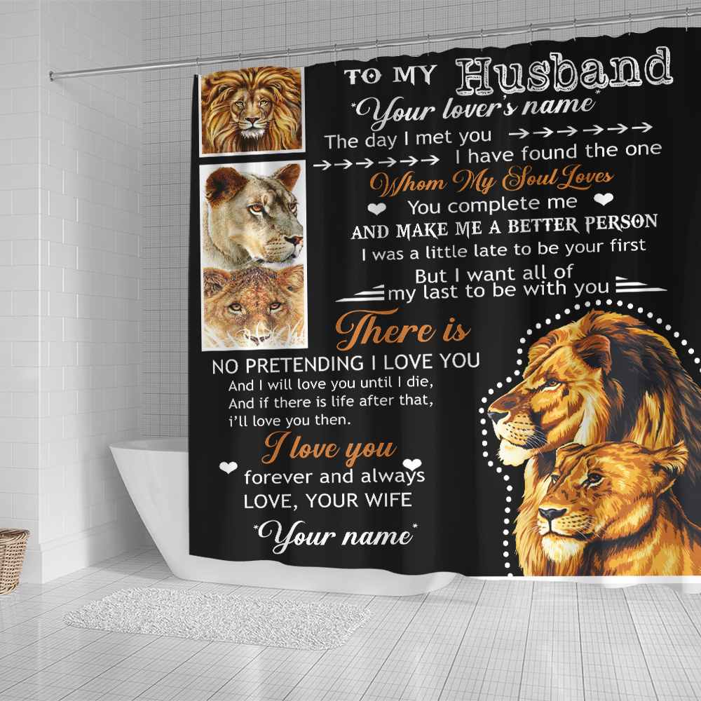 Personalized Shower Curtain 71 X 71 Inch To My Husband I Love You Forever And Always….. Set 12 Hooks Decorative Bath Modern Bathroom Accessories Machine Washable