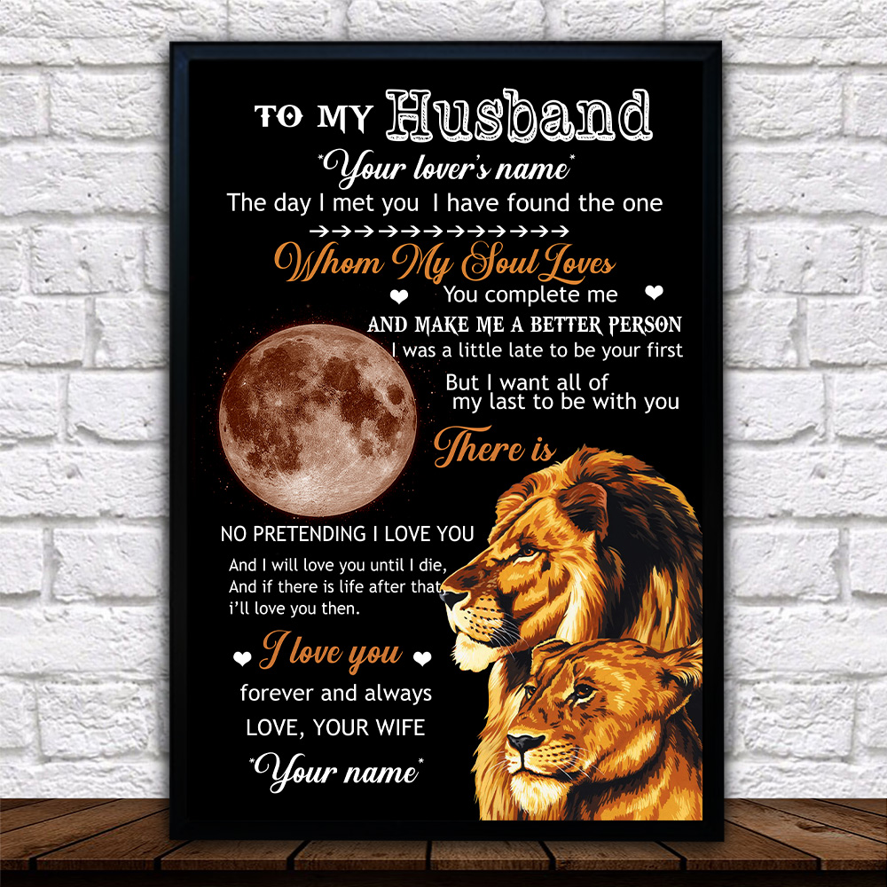 Personalized Wall Art Poster Canvas 1 Panel To My Husband I Love You Forever And Always….. Great Idea For Living Home Decorations Birthday Christmas Aniversary
