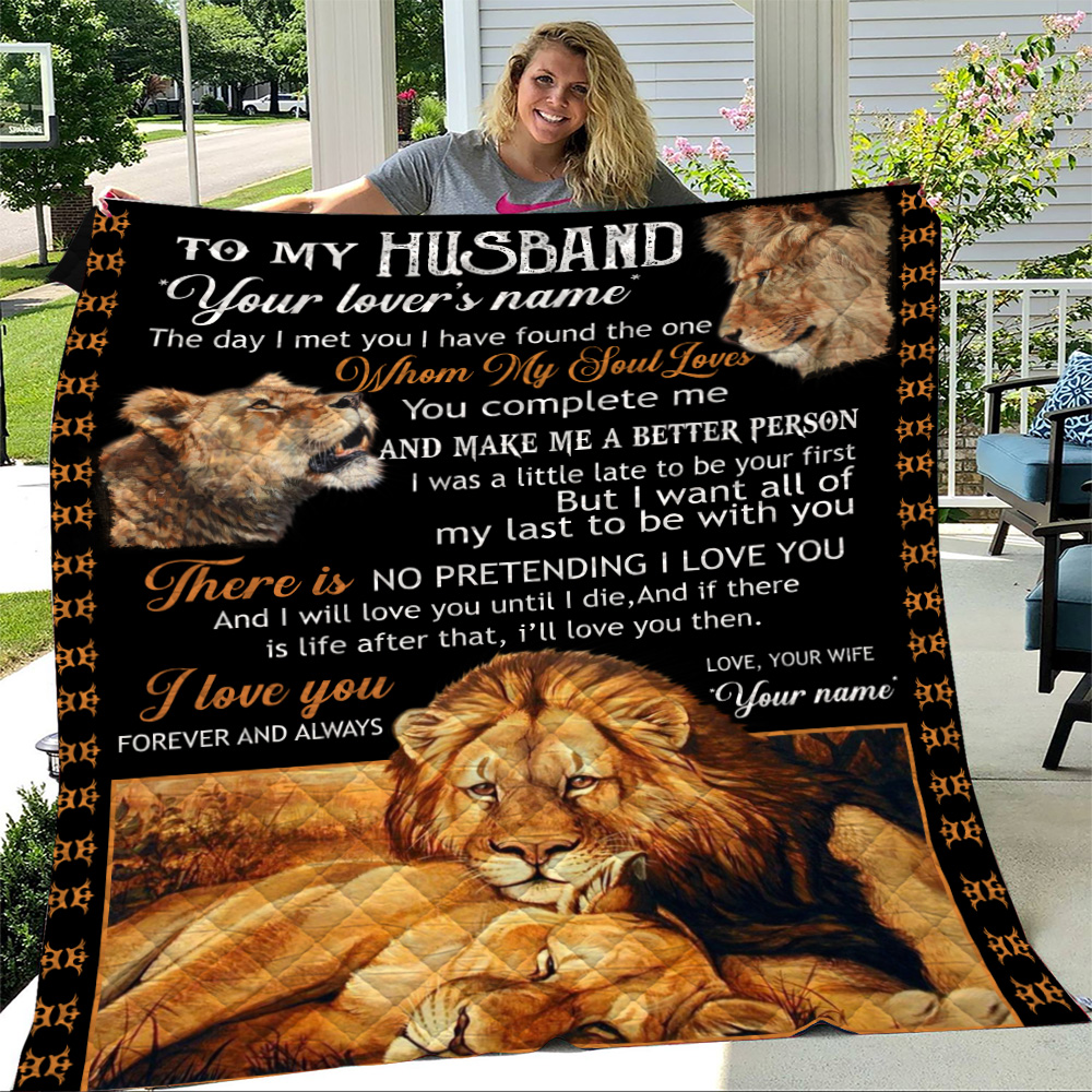 Personalized Quilt Throw Blanket To My Husband I Love You Forever And Always….. Lightweight Super Soft Cozy For Decorative Couch Sofa Bed