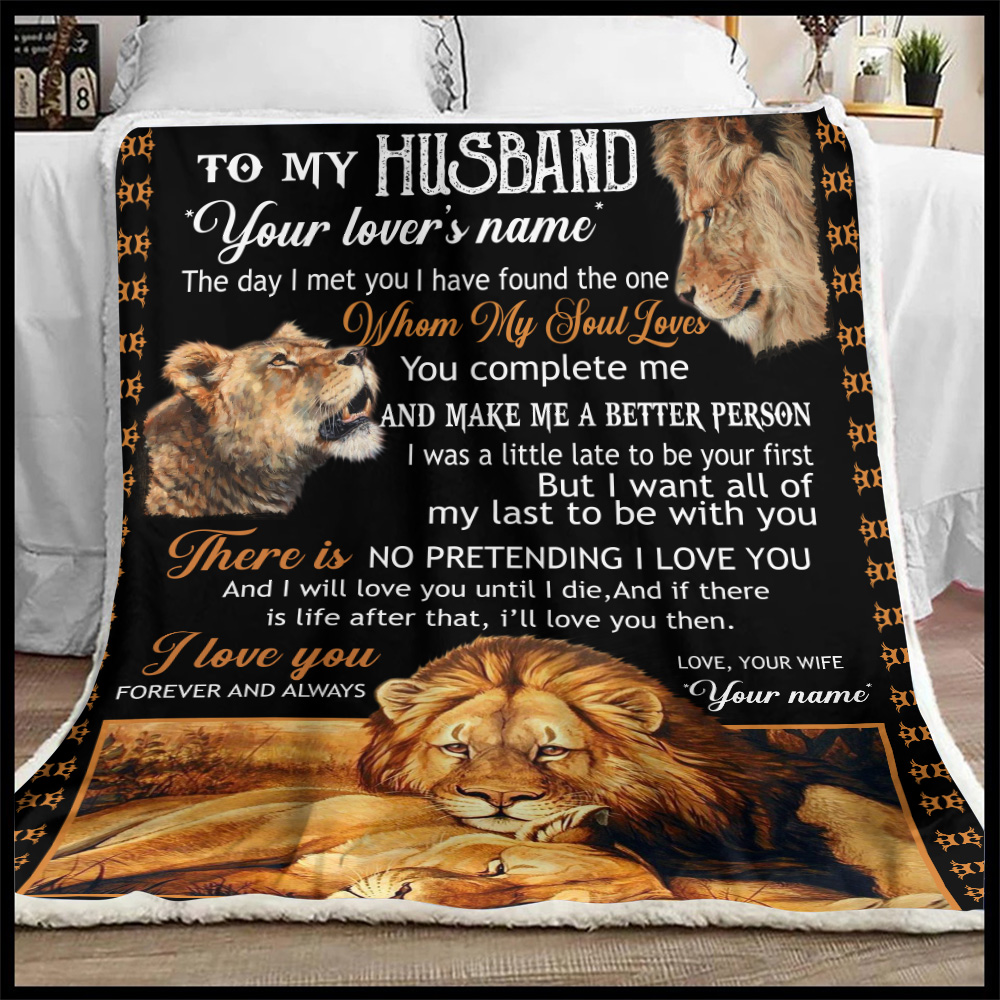 Personalized Fleece Throw Blanket To My Husband I Love You Forever And Always….. Lightweight Super Soft Cozy For Decorative Couch Sofa Bed