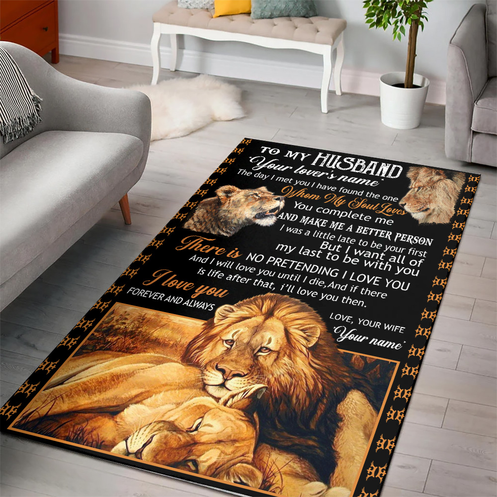 Personalized Floor Area Rugs To My Husband I Love You Forever And Always….. Indoor Home Decor Carpets Suitable For Children Living Room Bedroom Birthday Christmas Aniversary
