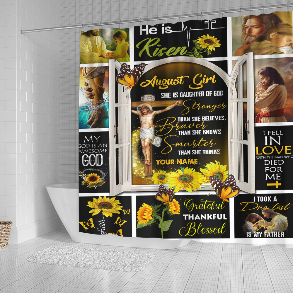 Personalized Shower Curtain August Girl She Is Daughter Of God Pattern 1 Set 12 Hooks Decorative Bath Modern Bathroom Accessories Machine Washable