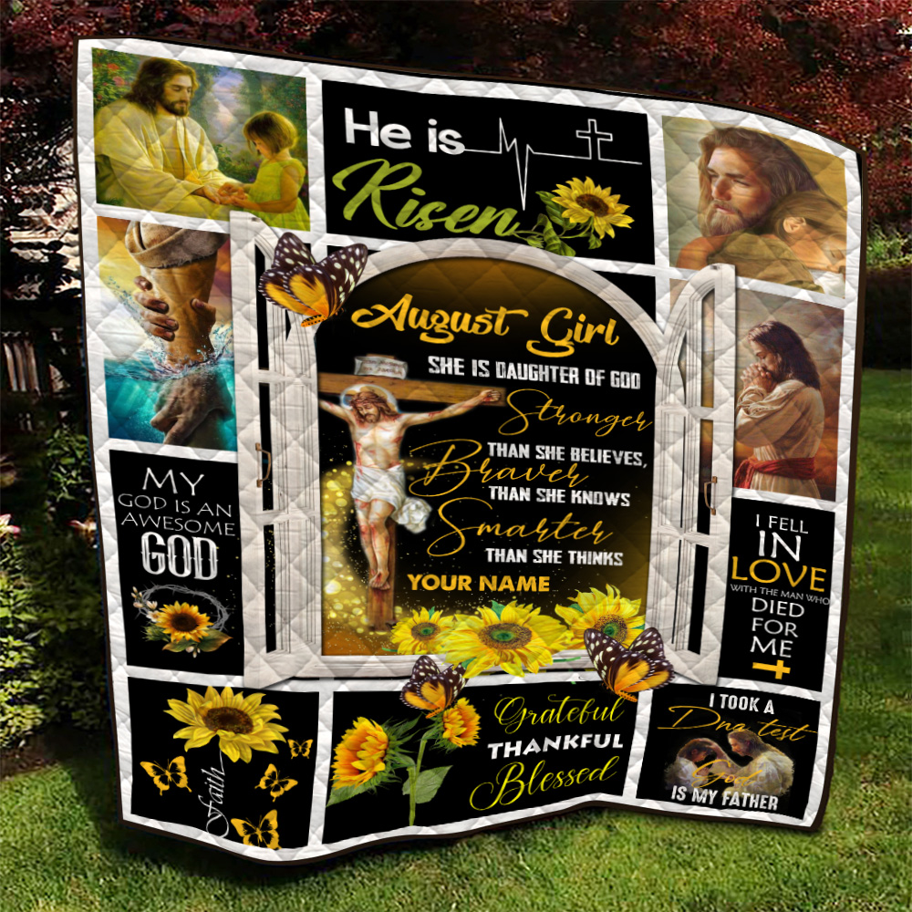 Personalized Quilt Throw Blanket August Girl She Is Daughter Of God Pattern 1 Lightweight Super Soft Cozy For Decorative Couch Sofa Bed