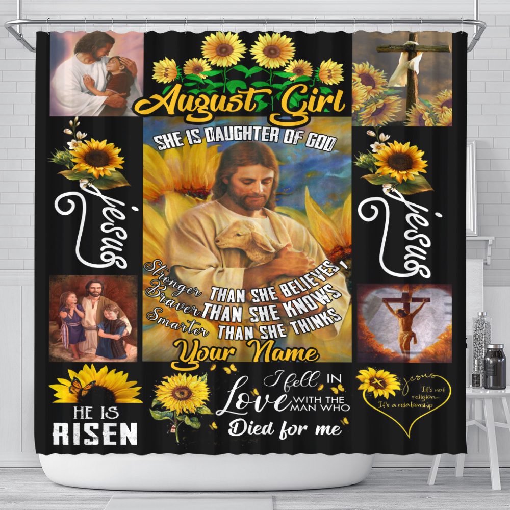 Personalized Shower Curtain August Girl She Is Daughter Of God Pattern 2 Set 12 Hooks Decorative Bath Modern Bathroom Accessories Machine Washable