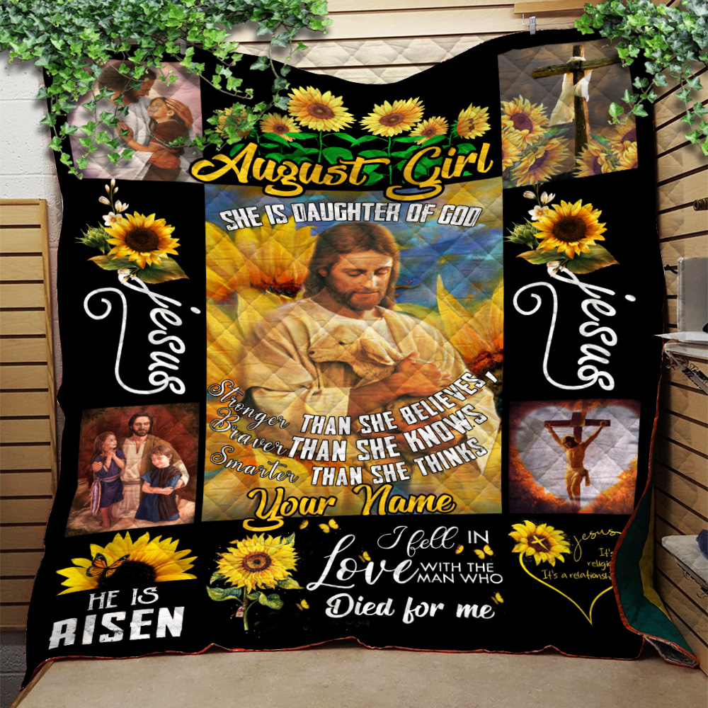 Personalized Quilt Throw Blanket August Girl She Is Daughter Of God Pattern 2 Lightweight Super Soft Cozy For Decorative Couch Sofa Bed