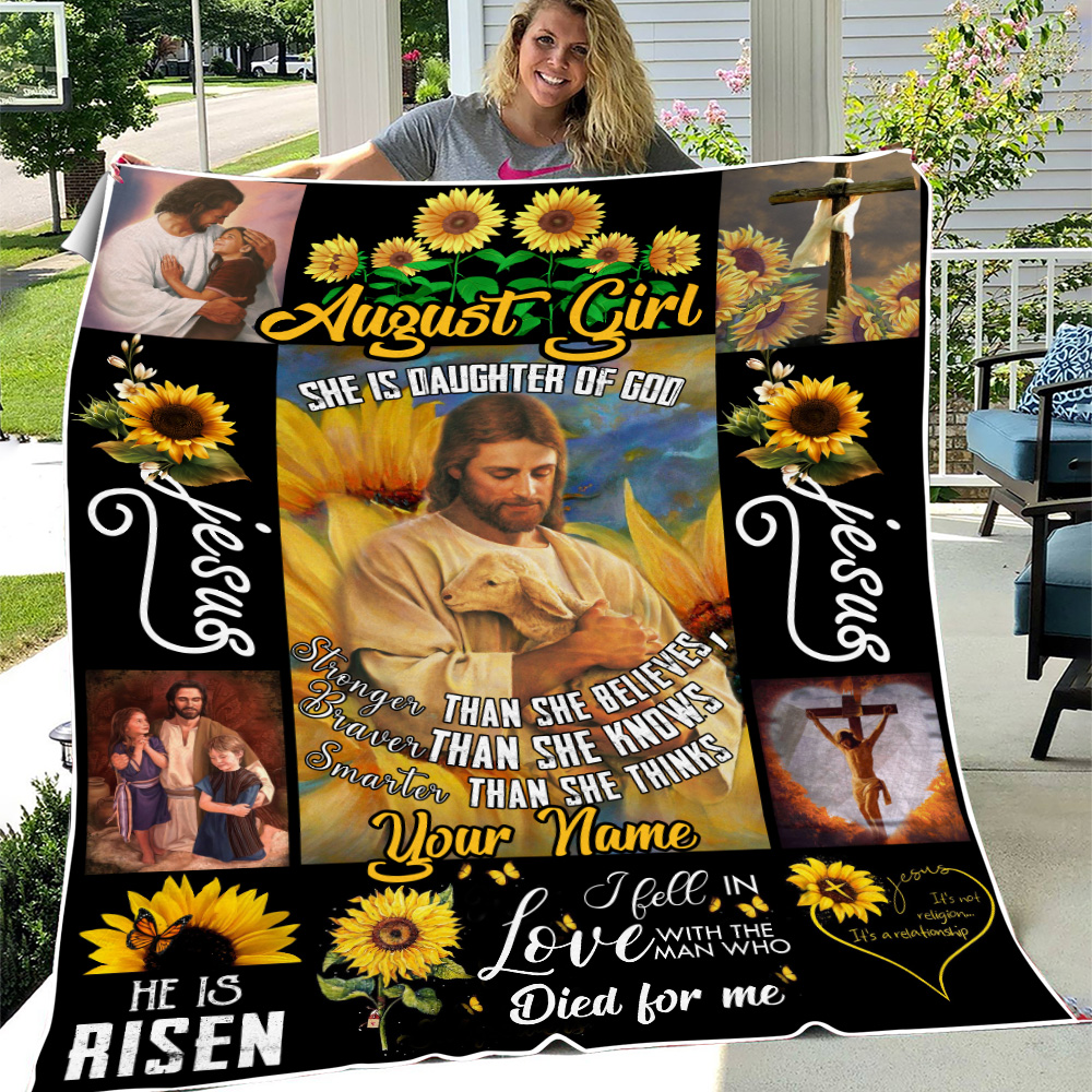 Personalized Fleece Throw Blanket August Girl She Is Daughter Of God Pattern 2 Lightweight Super Soft Cozy For Decorative Couch Sofa Bed