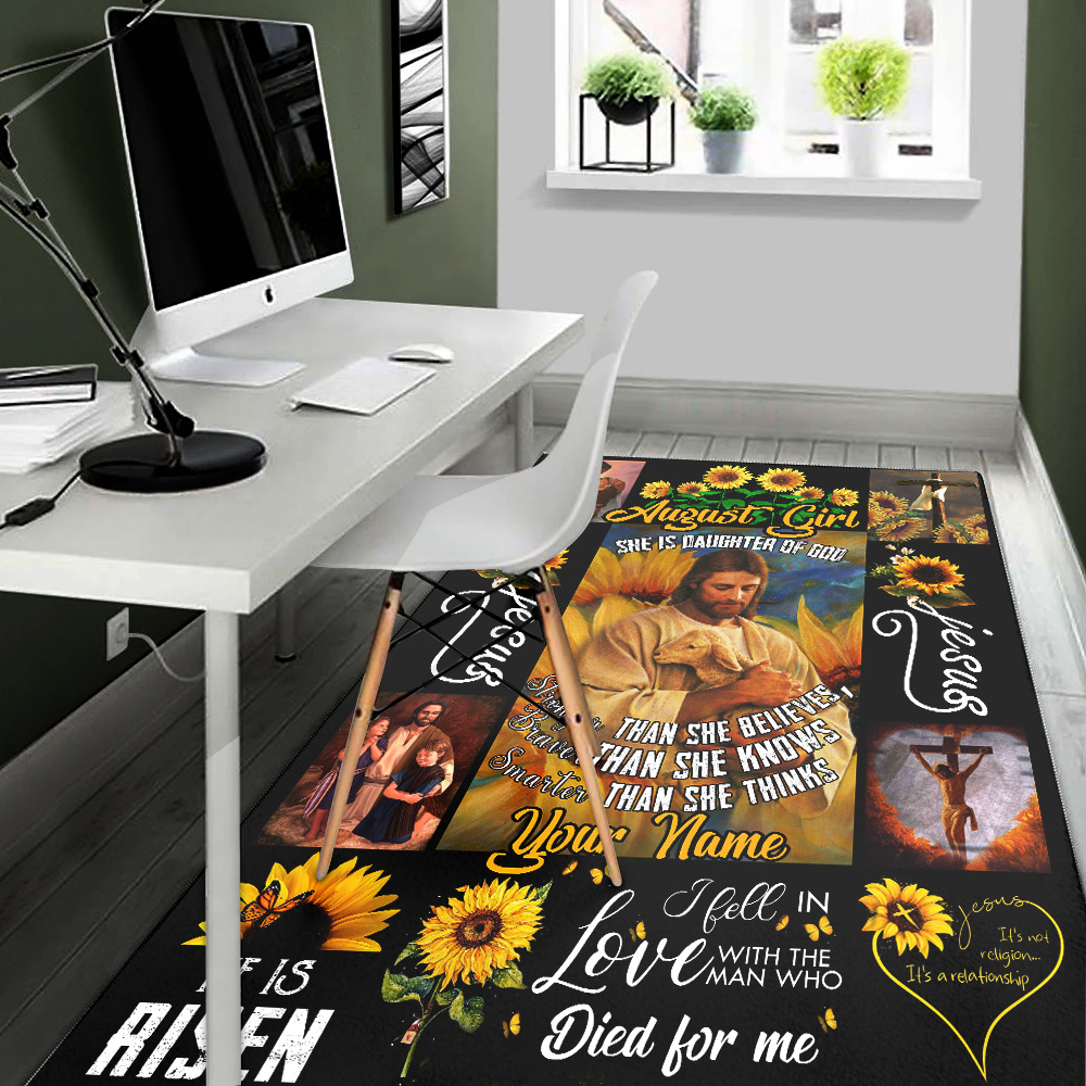 Personalized August Girl She Is Daughter Of God Pattern 2 Vintage Area Rug Anti-Skid Floor Carpet For Living Room Dinning Room Bedroom Office