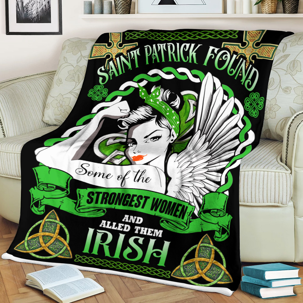 Personalized Lovely Fleece Throw Blanket St Patrick's Day Strongest Woman Who Called The Irish Pattern 2 Lightweight Super Soft Cozy For Decorative Couch Sofa Bed