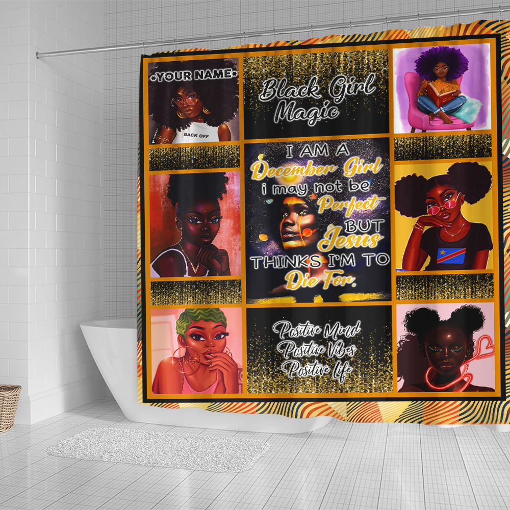 Personalized Shower Curtain December Girl I'm Not Be Perfect But Jesus Think I'm To Die For Pattern 1 Set 12 Hooks Decorative Bath Modern Bathroom Accessories Machine Washable