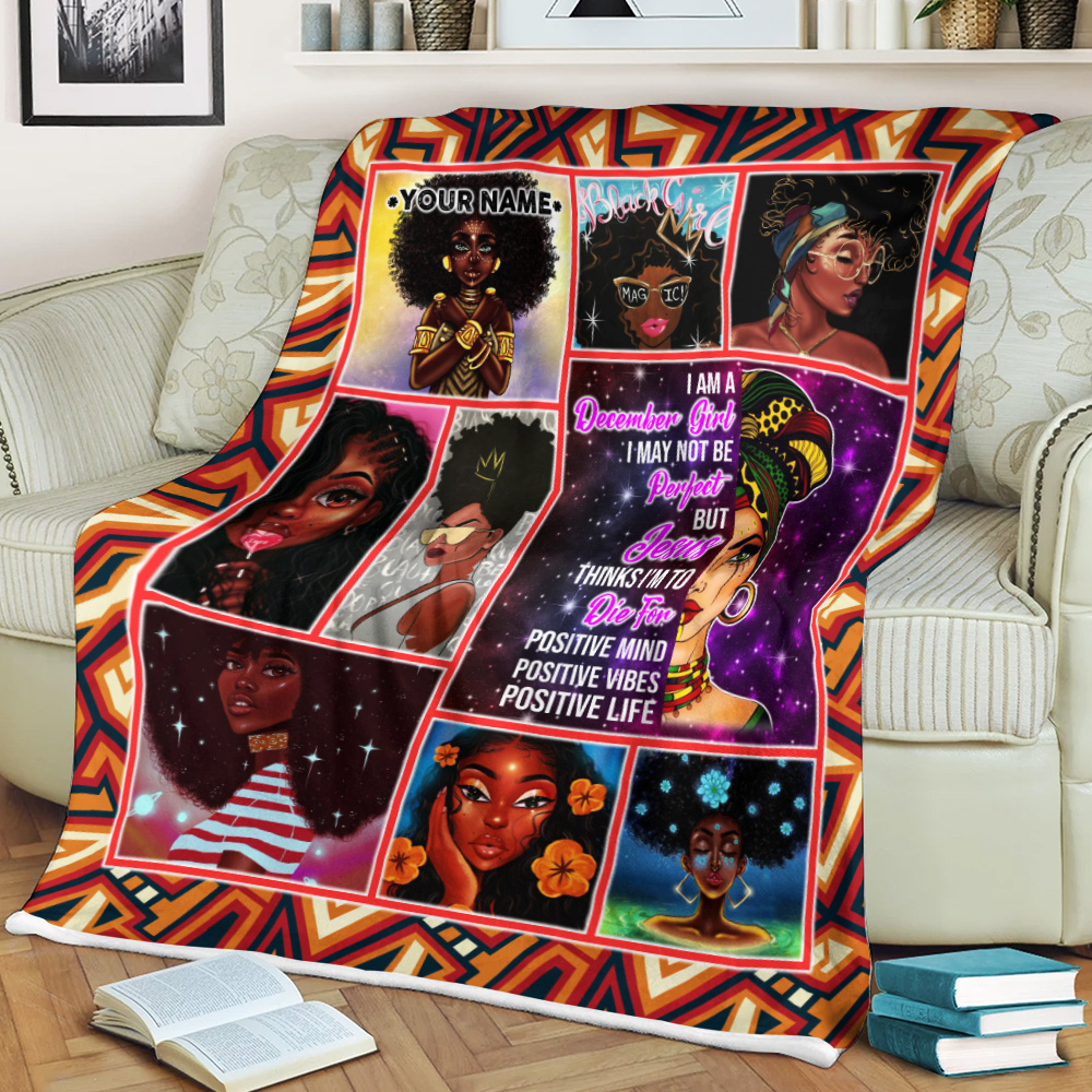 Personalized Fleece Throw Blanket December Girl I'm Not Be Perfect But Jesus Think I'm To Die For Pattern 2 Lightweight Super Soft Cozy For Decorative Couch Sofa Bed