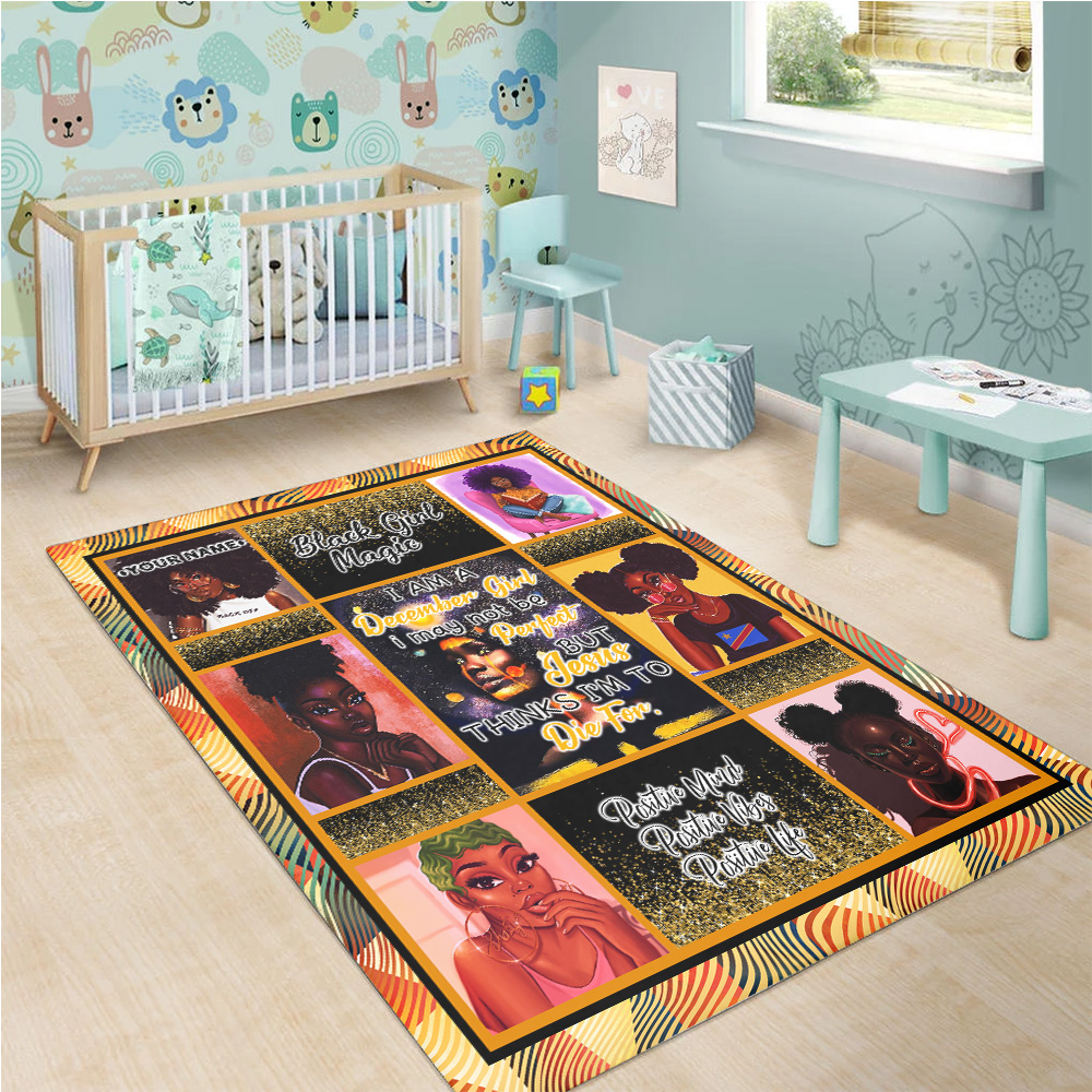 Personalized December Girl I'm Not Be Perfect But Jesus Think I'm To Die For Pattern 1 Vintage Area Rug Anti-Skid Floor Carpet For Living Room Dinning Room Bedroom Office