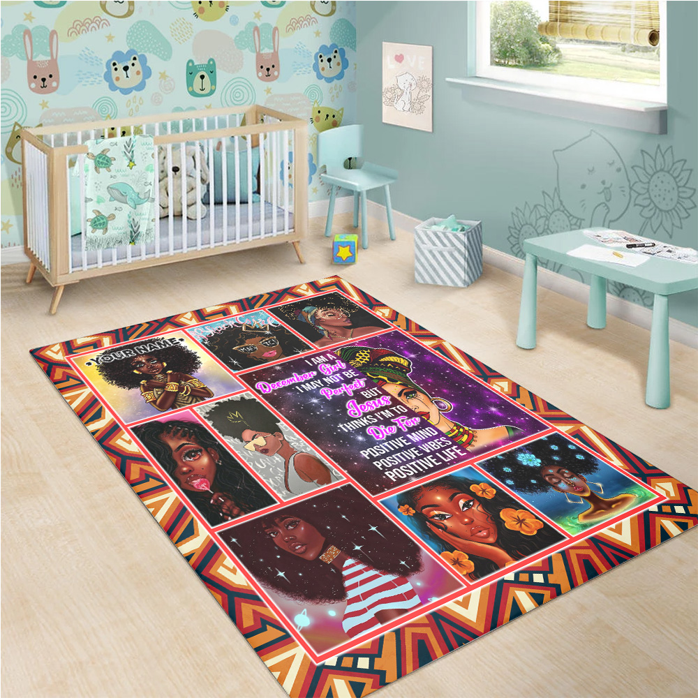 Personalized December Girl I'm Not Be Perfect But Jesus Think I'm To Die For Pattern 2 Vintage Area Rug Anti-Skid Floor Carpet For Living Room Dinning Room Bedroom Office