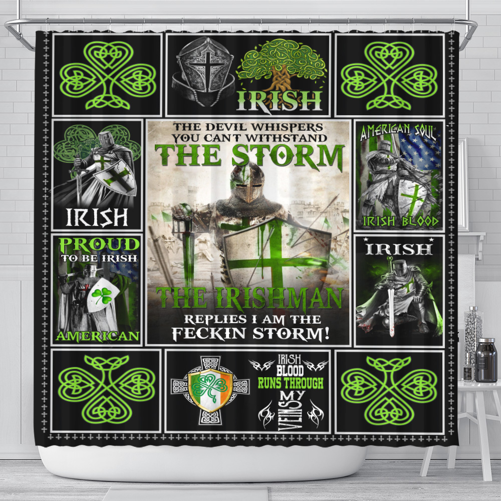 Personalized Lovely Shower Curtain St Patrick's Day The Irishman Replies I'm The Storm Pattern 1 Set 12 Hooks Decorative Bath Modern Bathroom Accessories Machine Washable