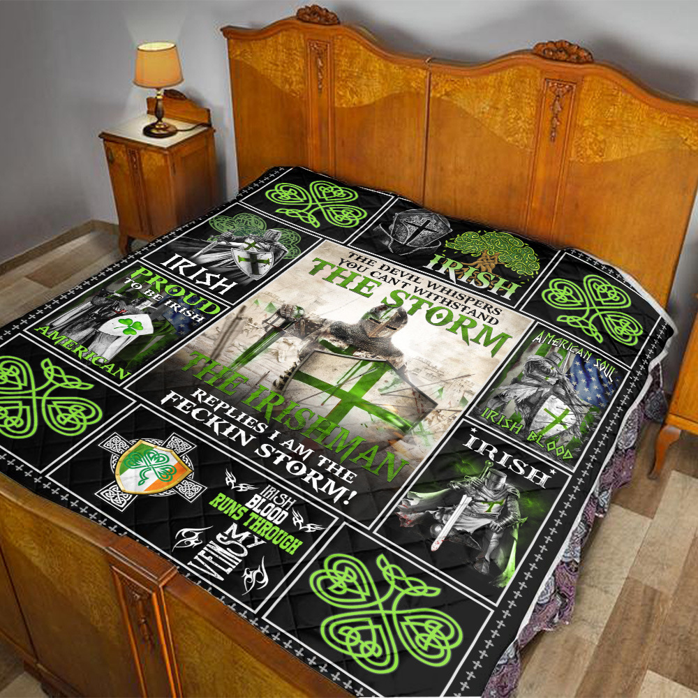 Personalized Lovely Quilt Throw Blanket St Patrick's Day The Irishman Replies I'm The Storm Pattern 1 Lightweight Super Soft Cozy For Decorative Couch Sofa Bed