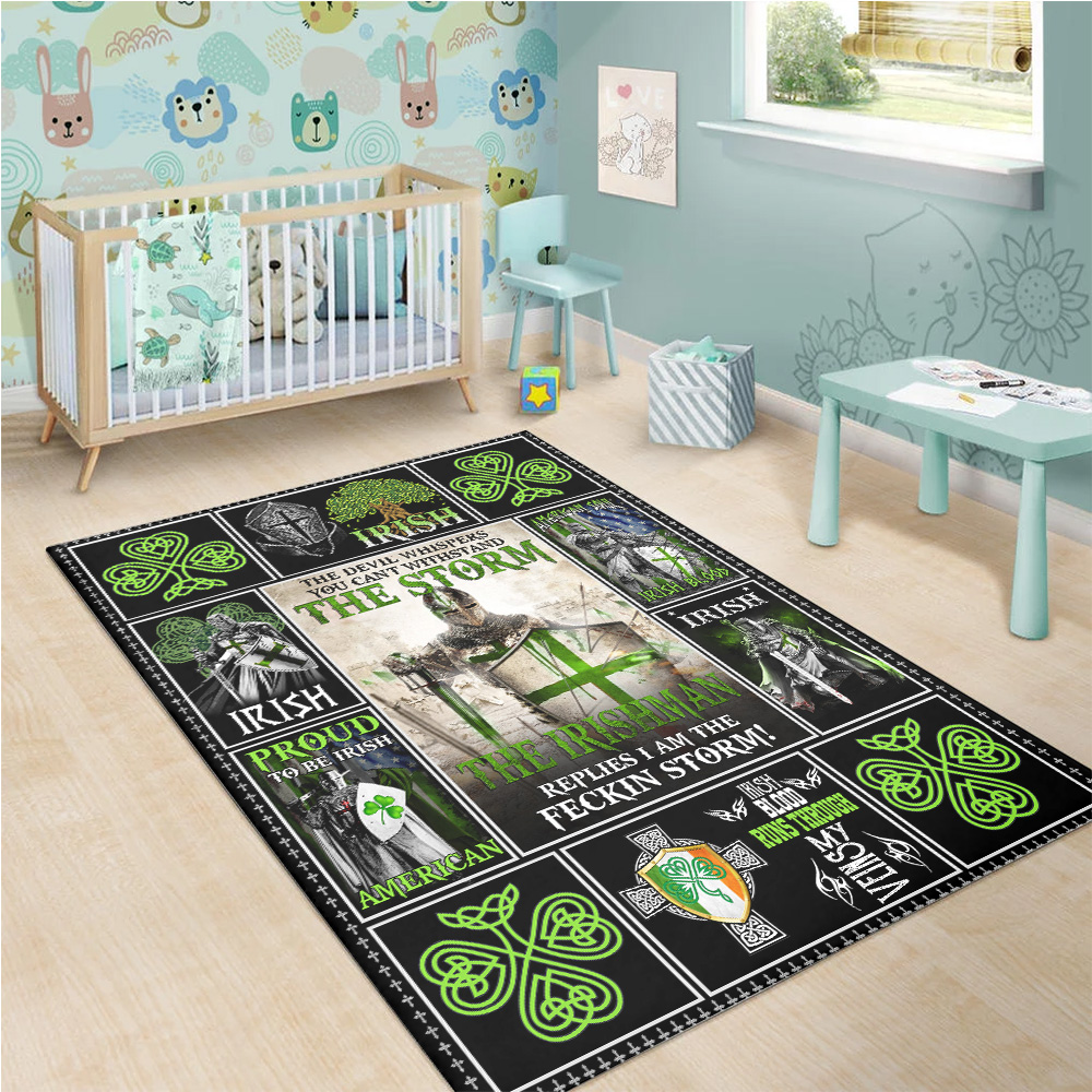 Personalized Lovely Rectangle Rug St Patrick's Day The Irishman Replies I'm The Storm Pattern 1 Vintage Area Rug Anti-Skid Floor Carpet For Living Room Dinning Room Bedroom Office