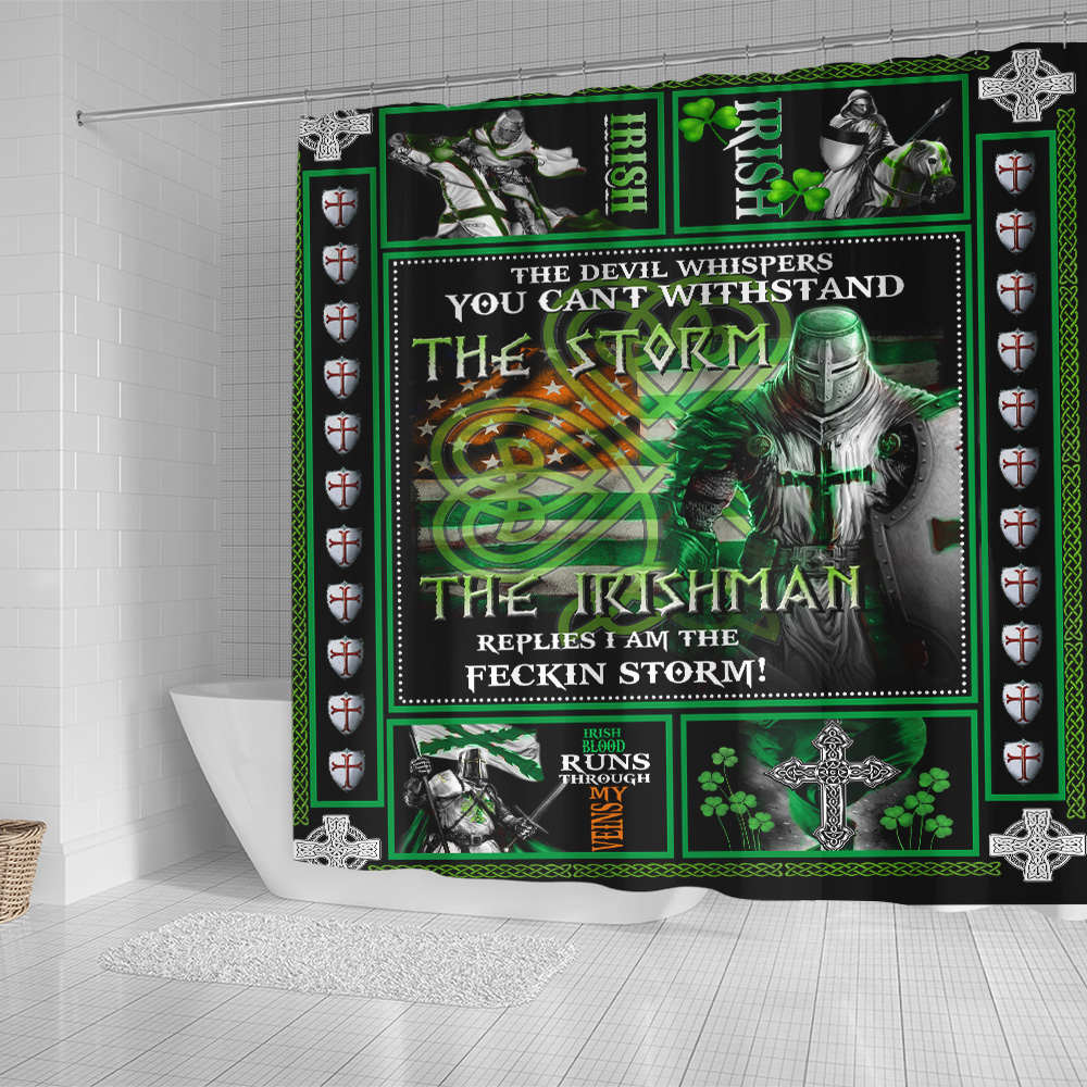 Personalized Lovely Shower Curtain St Patrick's Day The Irishman Replies I'm The Storm Pattern 2 Set 12 Hooks Decorative Bath Modern Bathroom Accessories Machine Washable