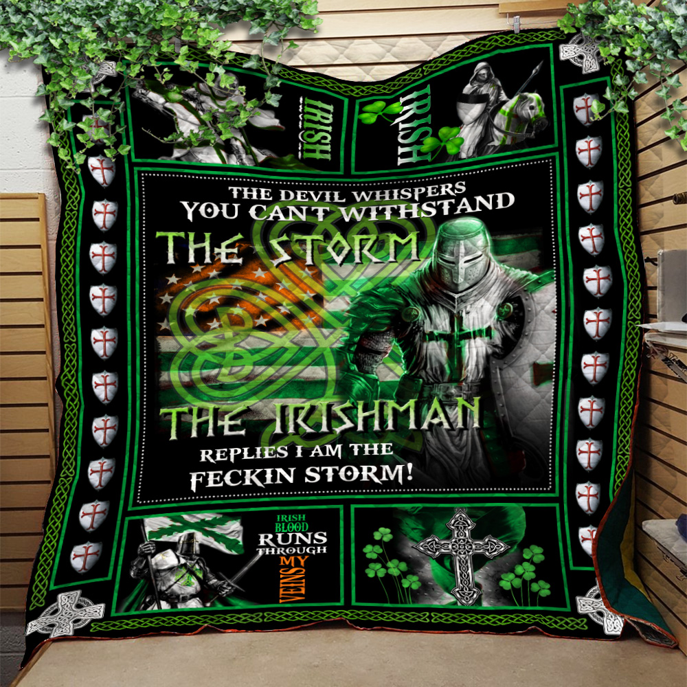 Personalized Lovely Quilt Throw Blanket St Patrick's Day The Irishman Replies I'm The Storm Pattern 2 Lightweight Super Soft Cozy For Decorative Couch Sofa Bed