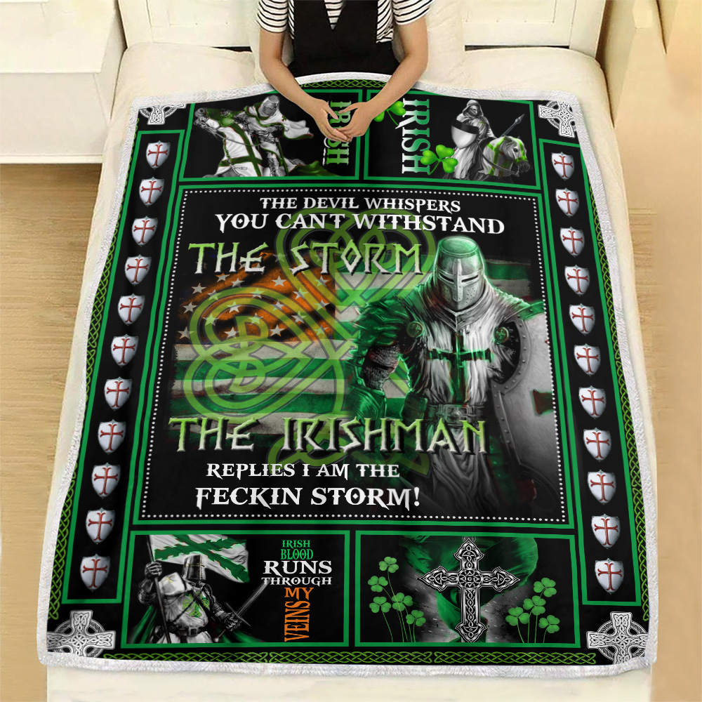 Personalized Lovely Fleece Throw Blanket St Patrick's Day The Irishman Replies I'm The Storm Pattern 2 Lightweight Super Soft Cozy For Decorative Couch Sofa Bed