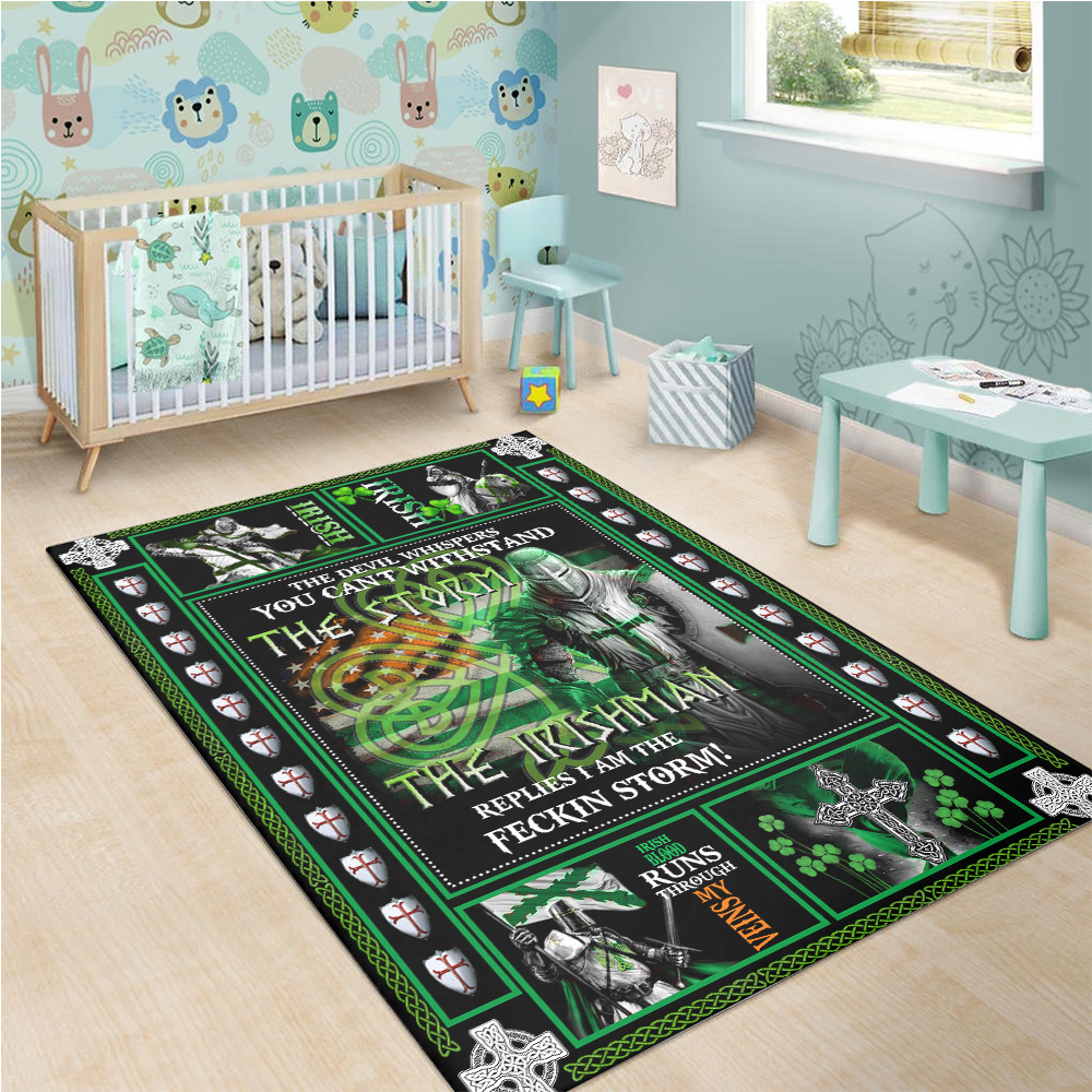 Personalized Lovely Rectangle Rug St Patrick's Day The Irishman Replies I'm The Storm Pattern 2 Vintage Area Rug Anti-Skid Floor Carpet For Living Room Dinning Room Bedroom Office