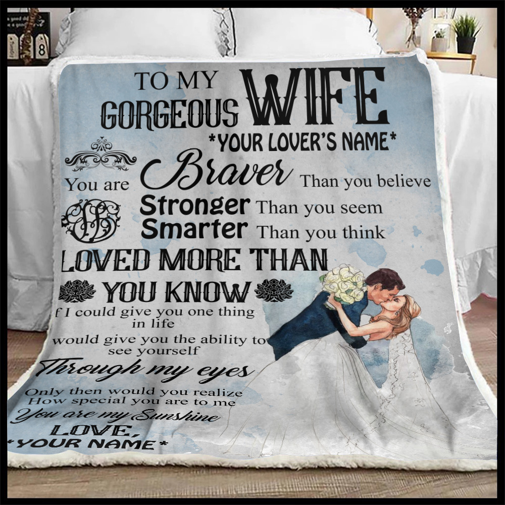 Personalized Fleece Throw Blanket To My Gorgeous Wife Love More Than You Know Pattern 2 Lightweight Super Soft Cozy For Decorative Couch Sofa Bed