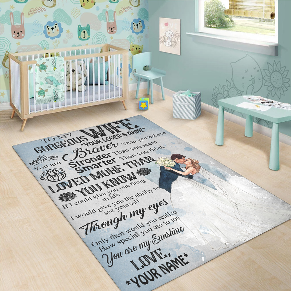 Personalized Floor Area Rugs To My Gorgeous Wife Love More Than You Know Pattern 2 Indoor Home Decor Carpets Suitable For Children Living Room Bedroom Birthday Christmas Aniversary