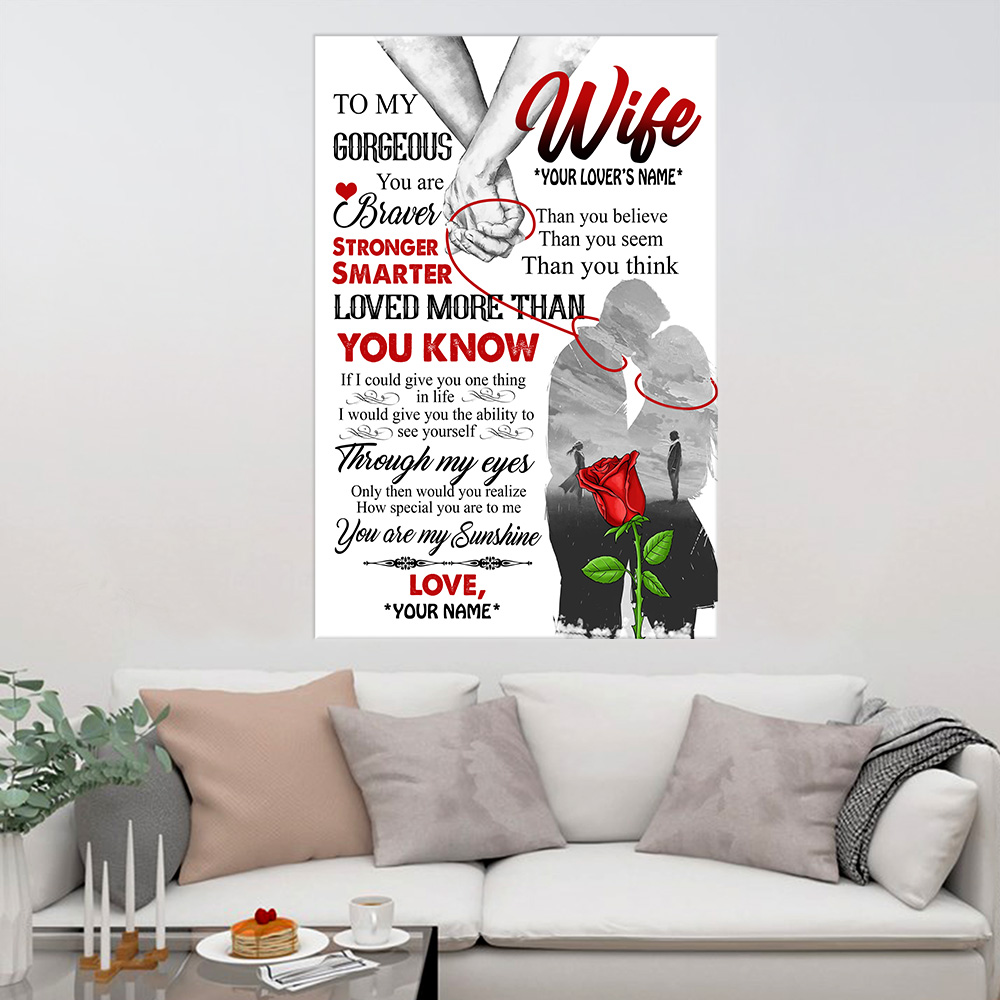 Personalized Wall Art Poster Canvas 1 Panel To My Gorgeous Wife Love More Than You Know Pattern 1 Great Idea For Living Home Decorations Birthday Christmas Aniversary