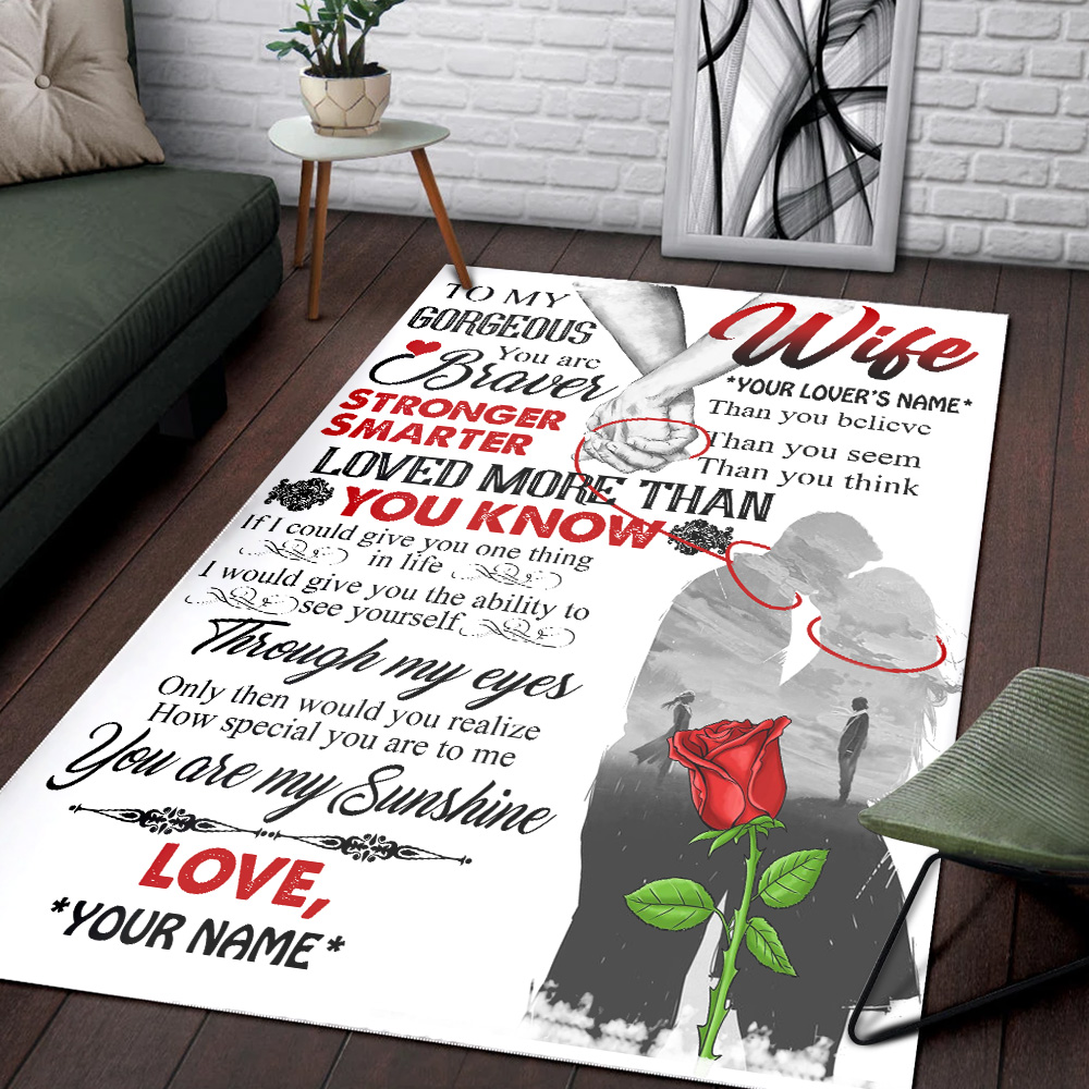 Personalized Floor Area Rugs To My Gorgeous Wife Love More Than You Know Pattern 1 Indoor Home Decor Carpets Suitable For Children Living Room Bedroom Birthday Christmas Aniversary
