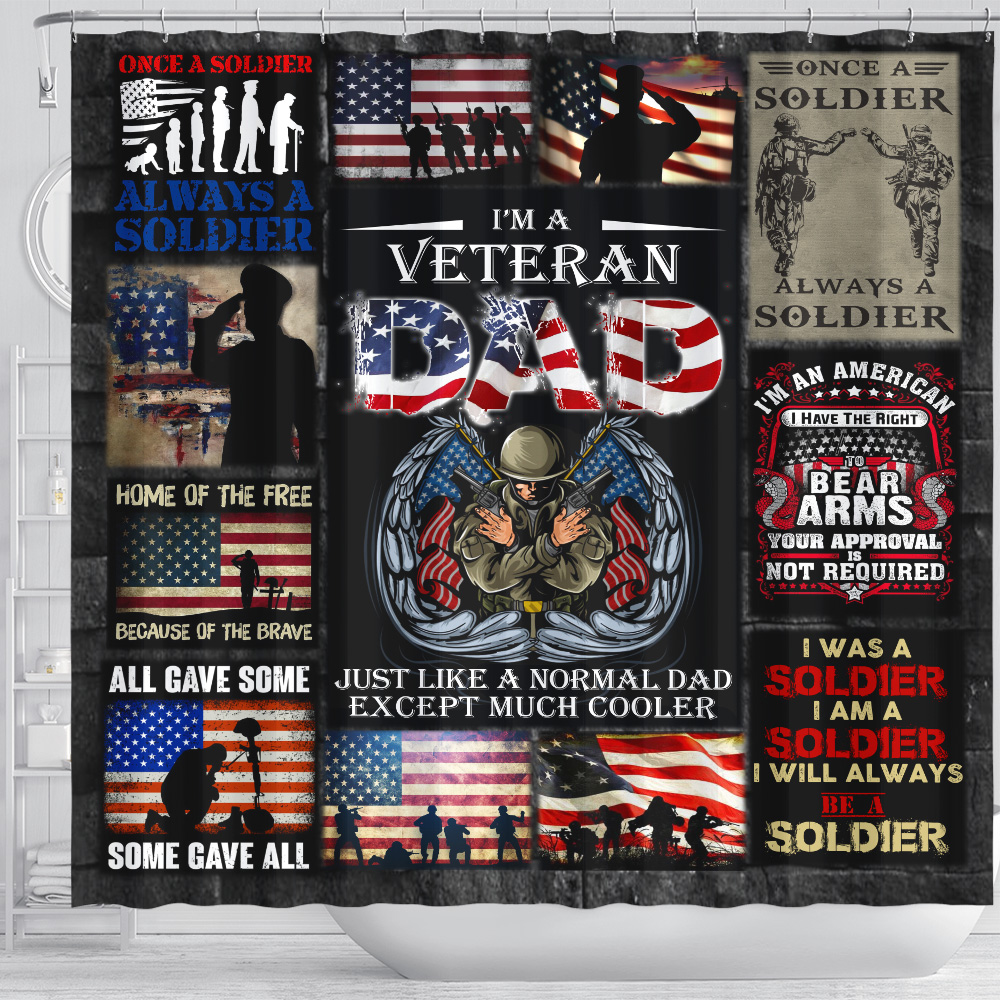 Personalized Shower Curtain 71 X 71 Inch I'm A Veteran Dad Pattern 2 Set 12 Hooks Decorative Bath Modern Bathroom Accessories Machine Washable