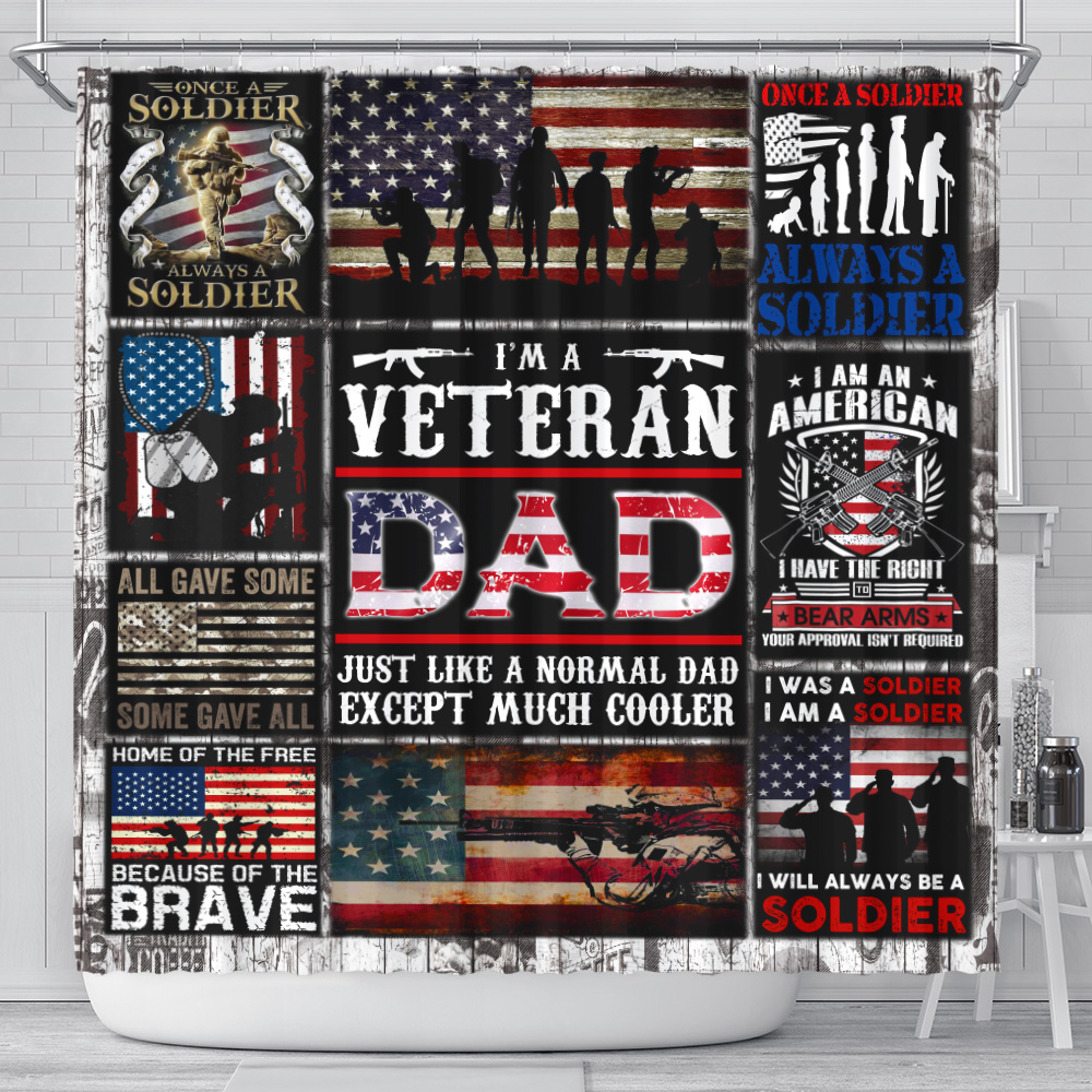 Personalized Shower Curtain 71 X 71 Inch I'm A Veteran Dad Pattern 1 Set 12 Hooks Decorative Bath Modern Bathroom Accessories Machine Washable