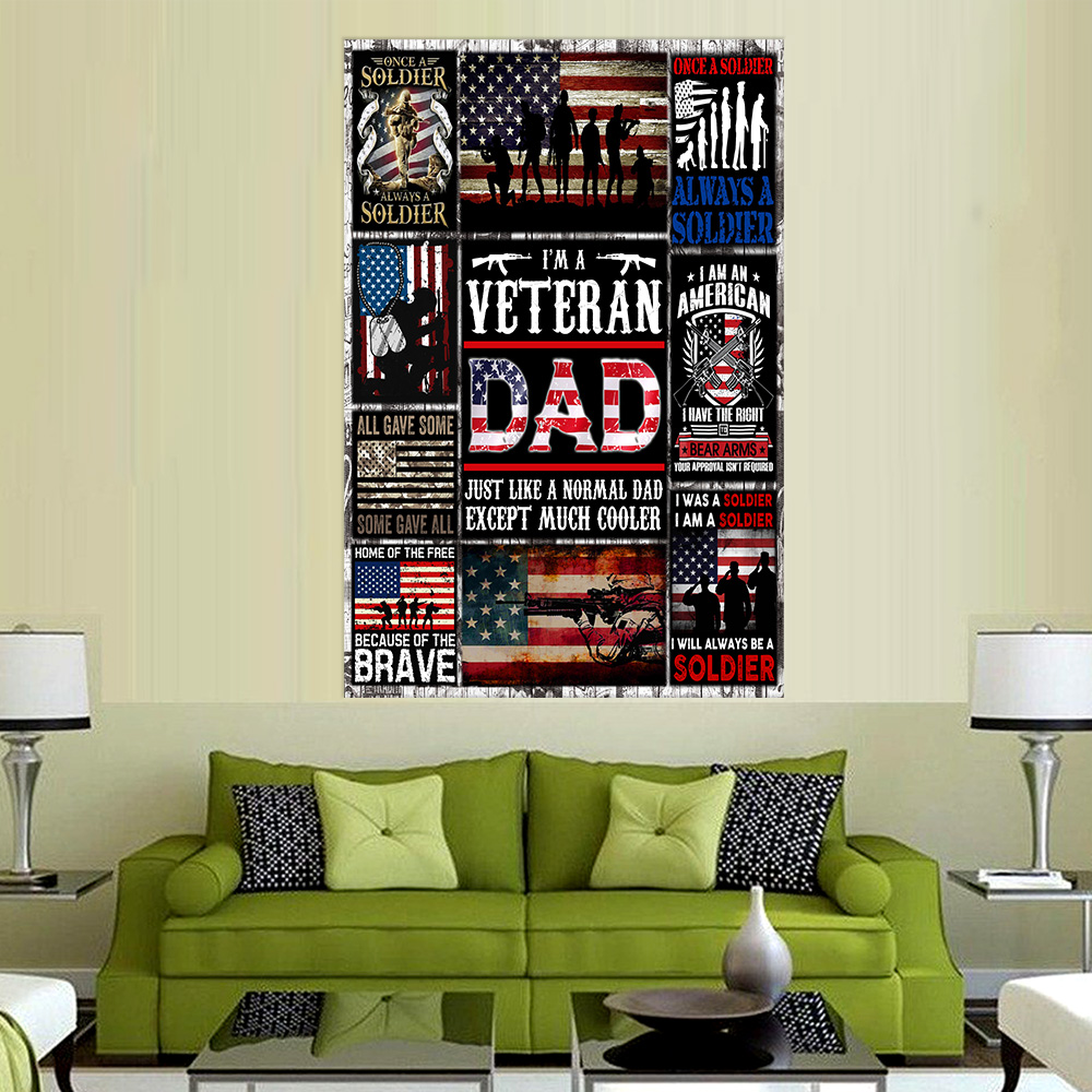 Personalized Wall Art Poster Canvas 1 Panel I'm A Veteran Dad Pattern 1 Great Idea For Living Home Decorations Birthday Christmas Aniversary