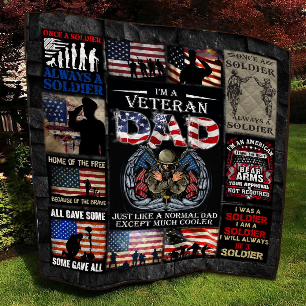 Personalized Quilt Throw Blanket I'm A Veteran Dad Pattern 2 Lightweight Super Soft Cozy For Decorative Couch Sofa Bed