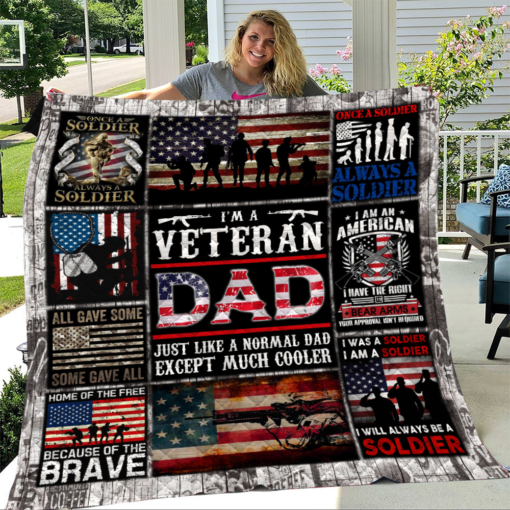 Personalized Quilt Throw Blanket I'm A Veteran Dad Pattern 1 Lightweight Super Soft Cozy For Decorative Couch Sofa Bed