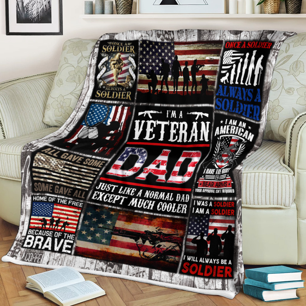 Personalized Fleece Throw Blanket I'm A Veteran Dad Pattern 1 Lightweight Super Soft Cozy For Decorative Couch Sofa Bed