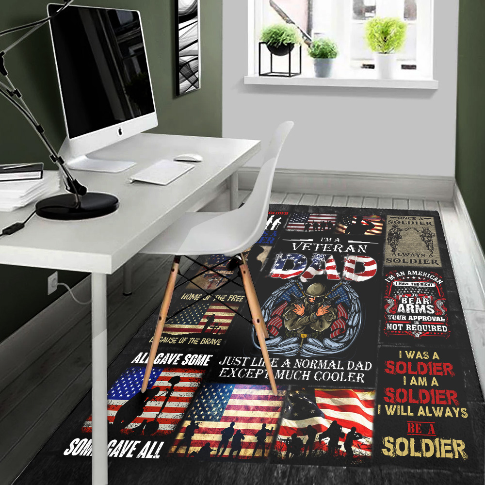 Personalized Floor Area Rugs I'm A Veteran Dad Pattern 2 Indoor Home Decor Carpets Suitable For Children Living Room Bedroom Birthday Christmas Aniversary