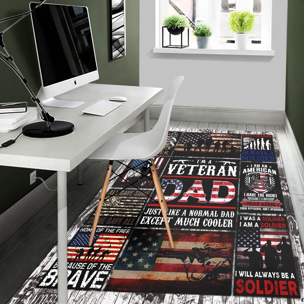Personalized Floor Area Rugs I'm A Veteran Dad Pattern 1 Indoor Home Decor Carpets Suitable For Children Living Room Bedroom Birthday Christmas Aniversary