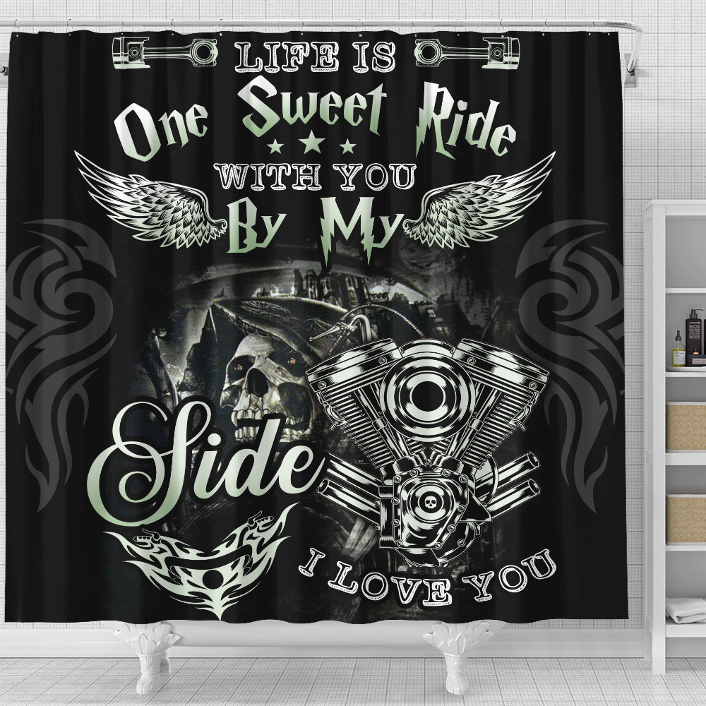 Personalized Shower Curtain 71 X 71 Inch Life Is One Sweet Ride Wit You  By My Side I Love You Pattern 2 Set 12 Hooks Decorative Bath Modern Bathroom Accessories Machine Washable