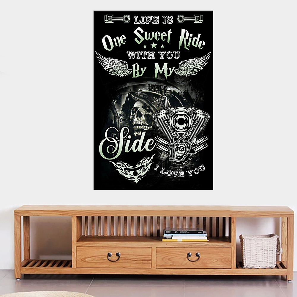 Personalized Wall Art Poster Canvas 1 Panel Life Is One Sweet Ride Wit You  By My Side I Love You Pattern 2 Great Idea For Living Home Decorations Birthday Christmas Aniversary