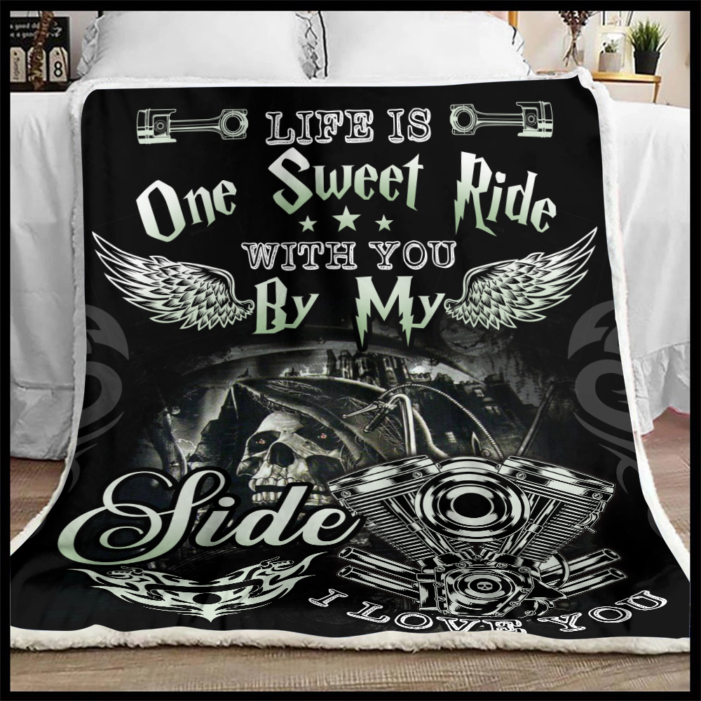Personalized Fleece Throw Blanket Life Is One Sweet Ride Wit You  By My Side I Love You Pattern 2 Lightweight Super Soft Cozy For Decorative Couch Sofa Bed