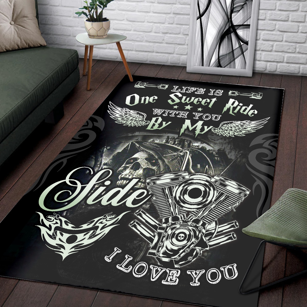 Personalized Floor Area Rugs Life Is One Sweet Ride Wit You  By My Side I Love You Pattern 2 Indoor Home Decor Carpets Suitable For Children Living Room Bedroom Birthday Christmas Aniversary