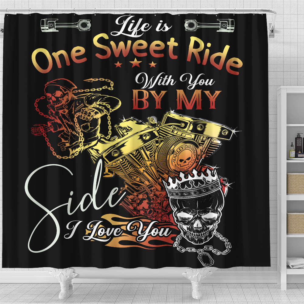 Personalized Shower Curtain 71 X 71 Inch Life Is One Sweet Ride Wit You  By My Side I Love You Pattern 1 Set 12 Hooks Decorative Bath Modern Bathroom Accessories Machine Washable